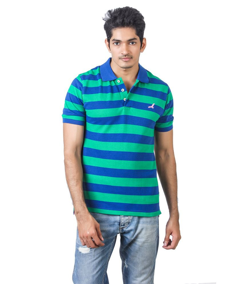 American crew green blue half sleeves stripe polo t for Blue striped shirt mens