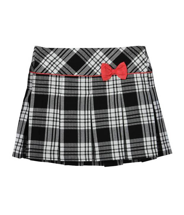 Beebay Yarn Dyed Checkered Black Color Skirt For Kids
