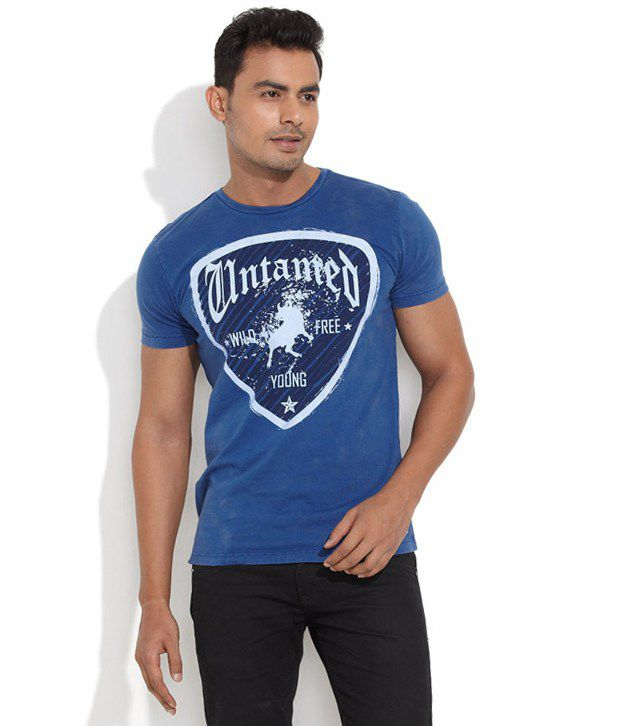 Inego Blue Cotton Blend T-shirt