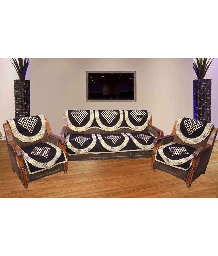 Decor vatika brown geometrical polyester sofa cover set - A m home decor set ...