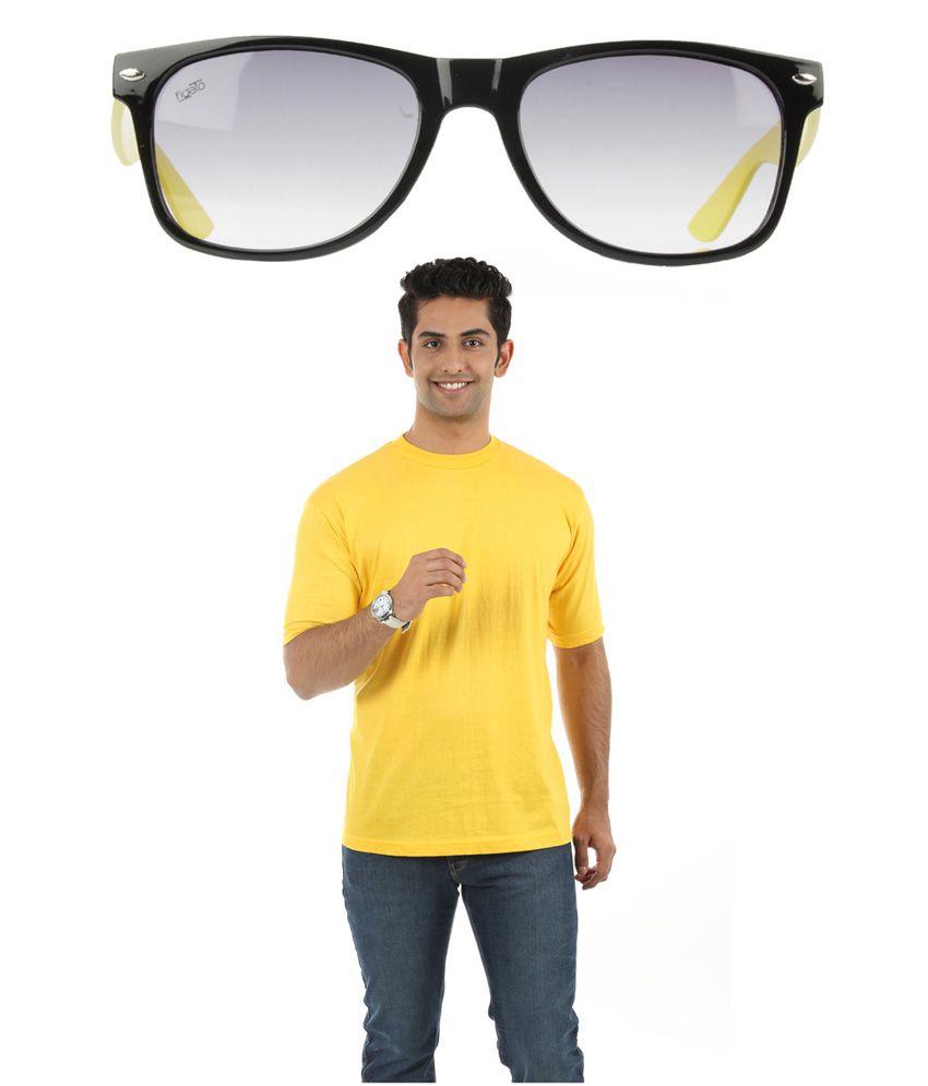 Fidato Yellow Cotton T-ShirtWith Wayfarer Sunglasses