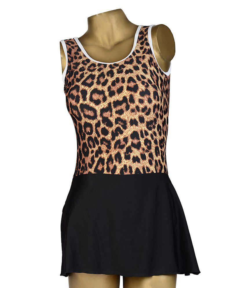 Indraprastha Leopard Print Skirted Swimsuit - Large Size