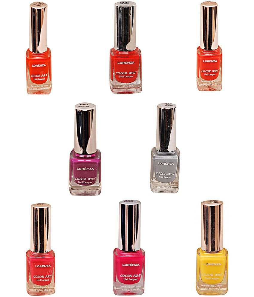 Lorenza Multicolour Nail Polish Combo 10 (buy 4 Get 4 Free)