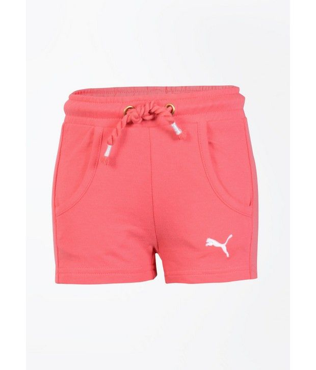 Puma Pink Solid Shorts for Girls