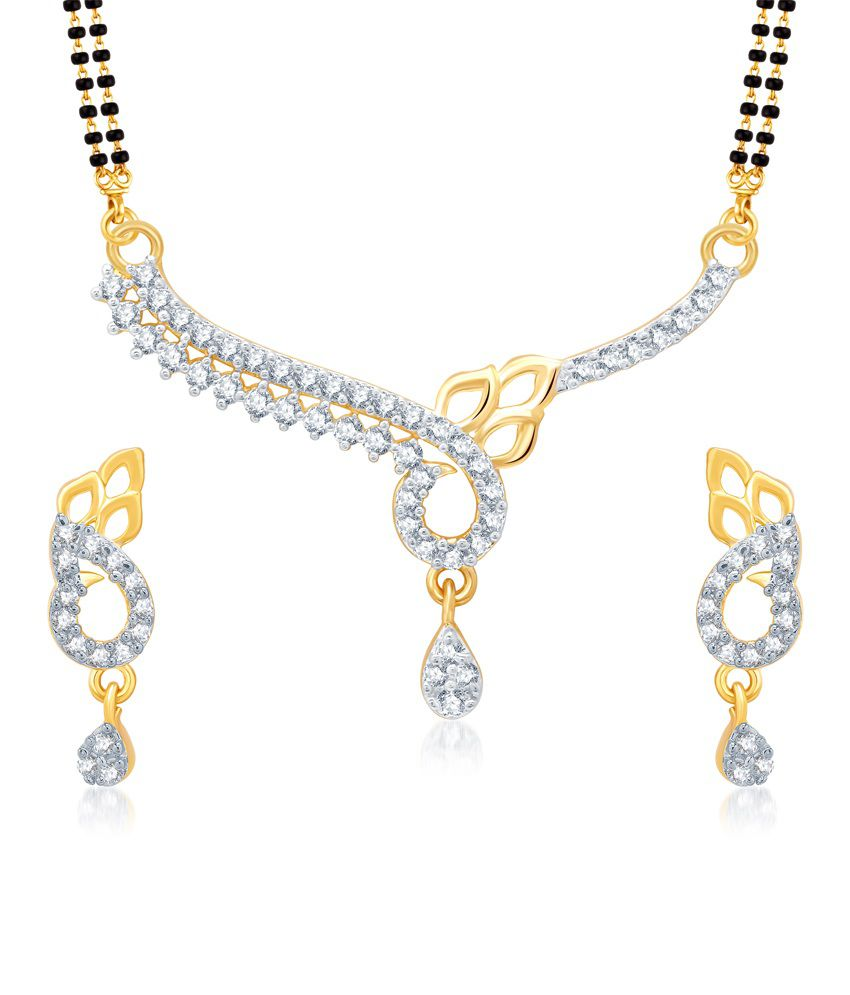Vk Jewels Pretty Gold And Rhodium Plated Mangalsutra Pendant Set With Earrings