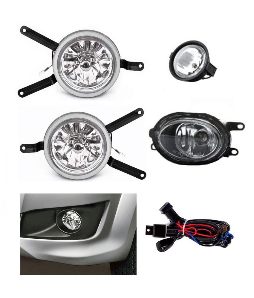 Carsaaz Premium Quality Fog Lamp For Maruti Swift Dzire Old With Wiring Light And Switch White