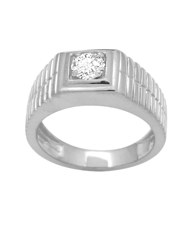 Ciemme 92.5 Sterling Silver 1.01 Ct Solitaire Cz Diamond Studded Ring With Gift Box