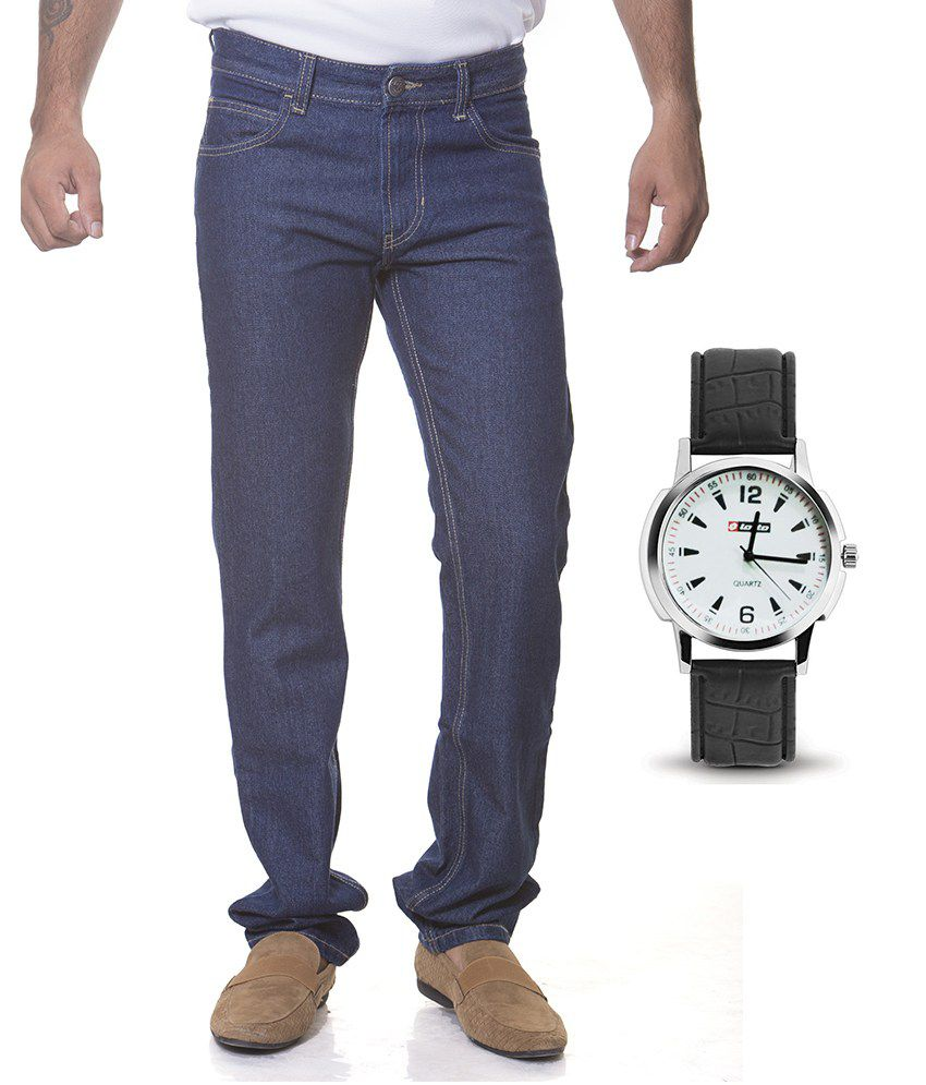 Flying Machine Blue Jeans & Lotto Watch Combo