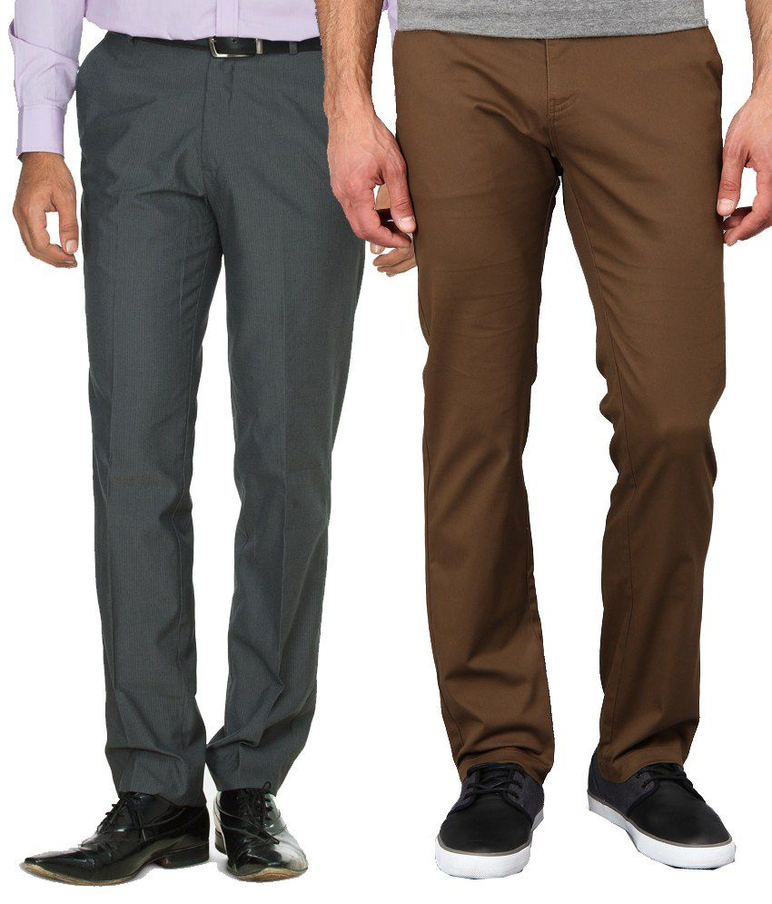 Mera Kapda Pack Of 2 Formal With Casual Trouser For Men