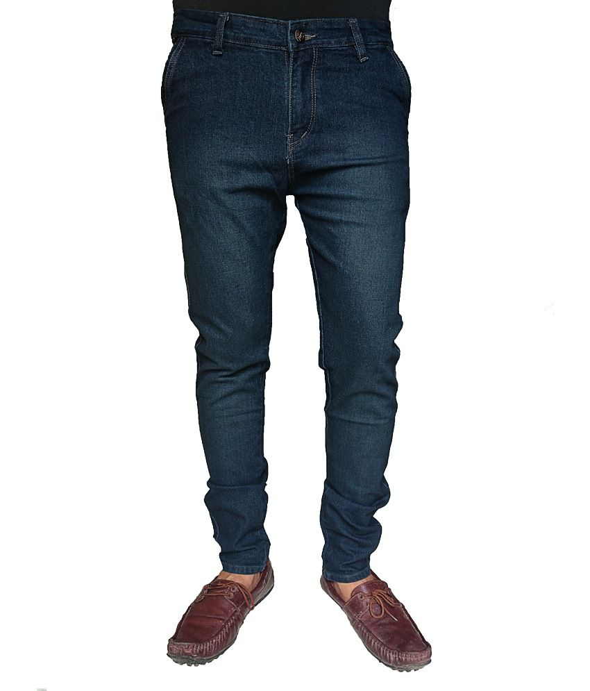 Oiin Blue Cotton Slim Fit Jeans