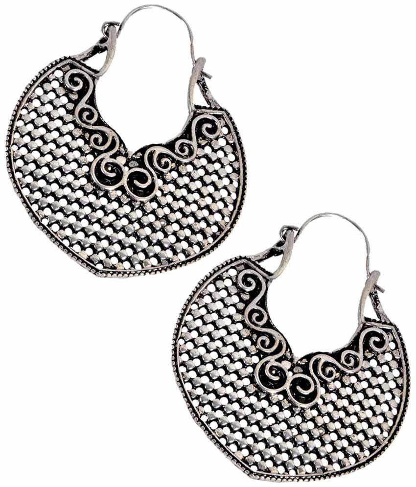 Maayra Elegant Silver Designer Push Back Hoop Earrings