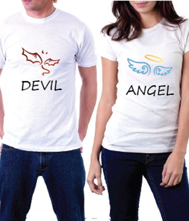 35223bf8c9 La Angel And Devil Couple T-shirt - Buy La Angel And Devil Couple T-shirt  Online at Low Price - Snapdeal.com