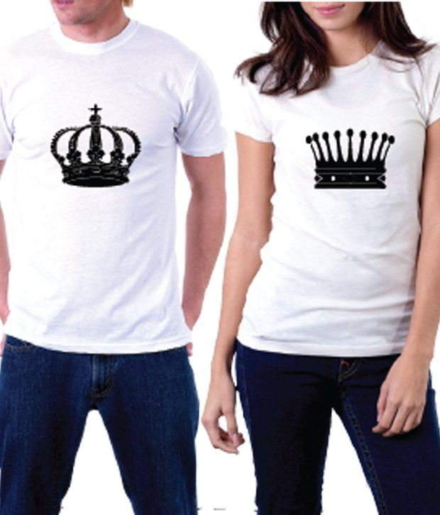 Buy la king and queen couple tshirt online at best prices for Couple printed t shirts india