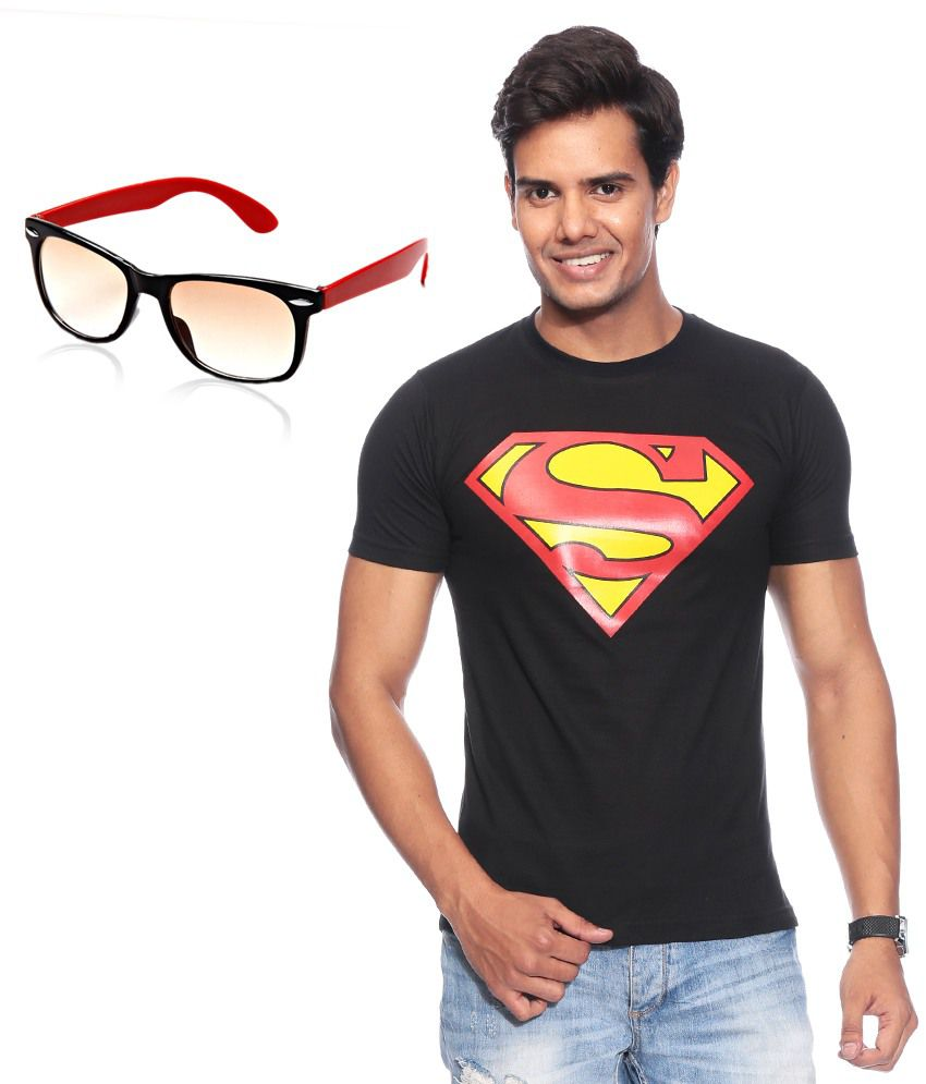Mall 4 All Black Cotton Blend T-shirt With Wayfarer Sunglasses
