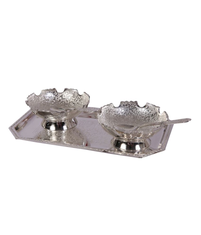 Mia German Silver 2 Flower Edge Ice Cream Bowl Set With Tray