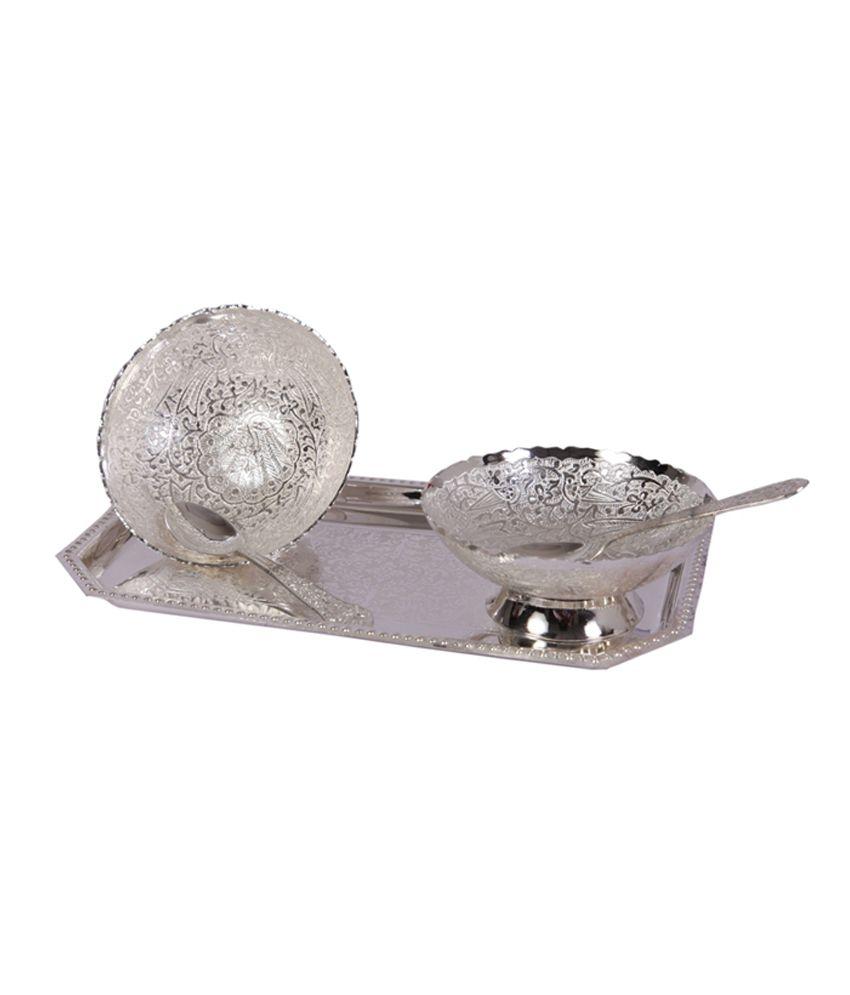 Mia German Silver 2 Ice Cream Bowl Set With Spoon