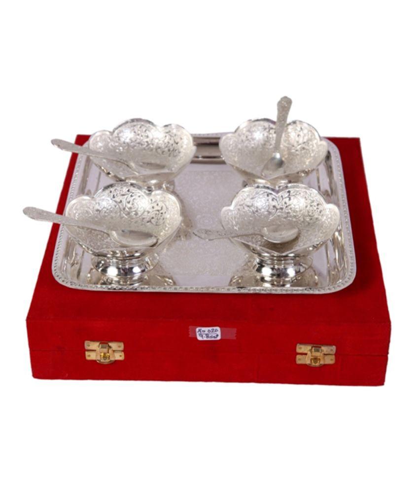 Mia German Silver 4 Ice Cream Bowl Set With Tray