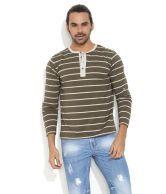 Rattrap Green Striped Henley Shirt