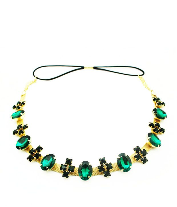 Cinderella Fashion Jewelry  Green & Golden Stone Studded Hair Band