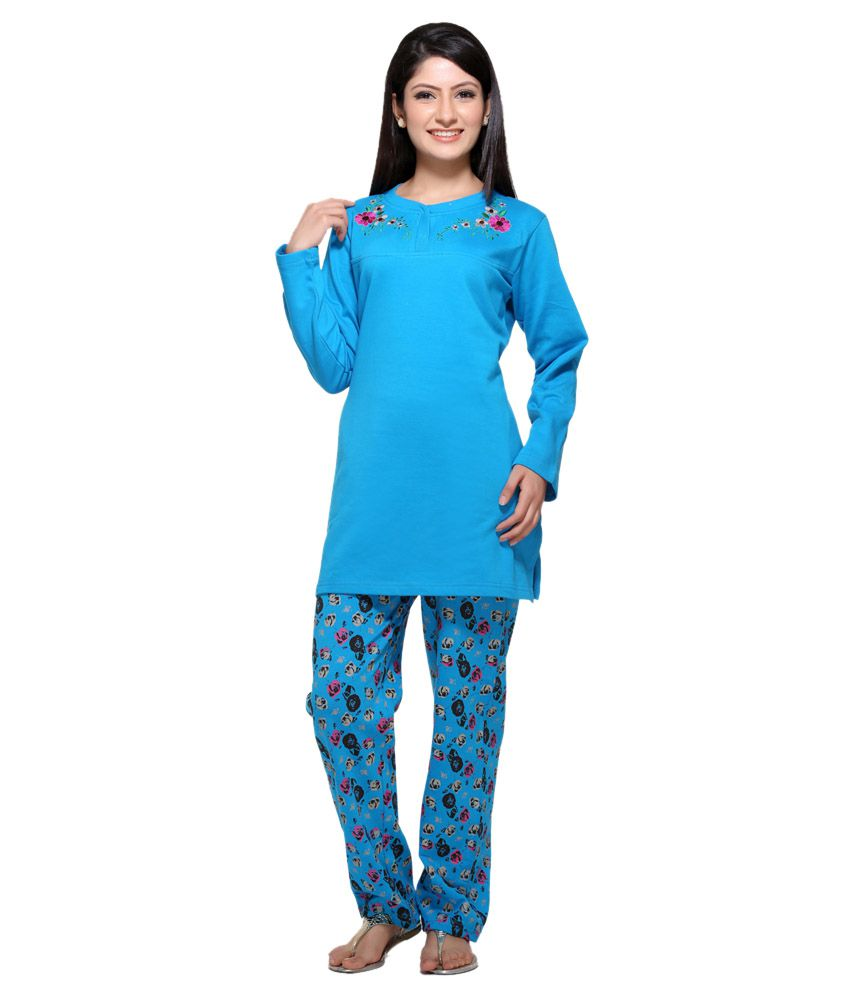 5ae55eab0f Buy D_ove Blue Cotton Nightsuit Sets Online at Best Prices in India -  Snapdeal