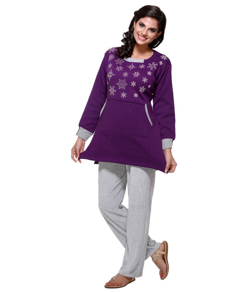 D_ove Purple Poly Cotton Nightsuit Sets