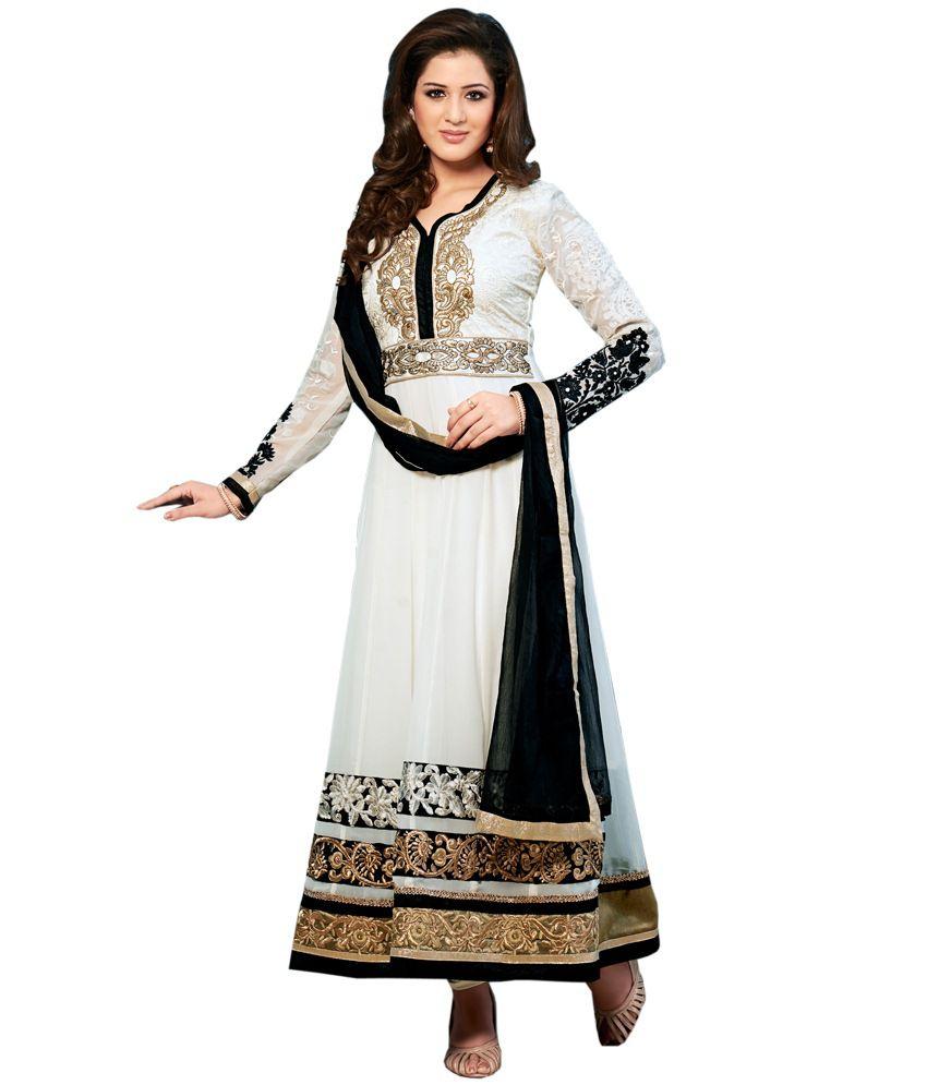 Khanak The Fashion Hub White Georgette With Santoon Bottom Chiffon Dupatta Special Edition Semi Stitched Anarkali Salwar Suits