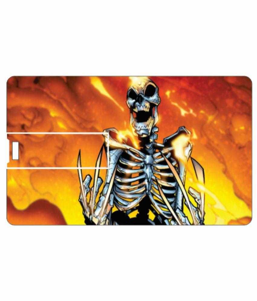 Printland Skull 4GB Card 4 GB Pen DrivesMulticolor