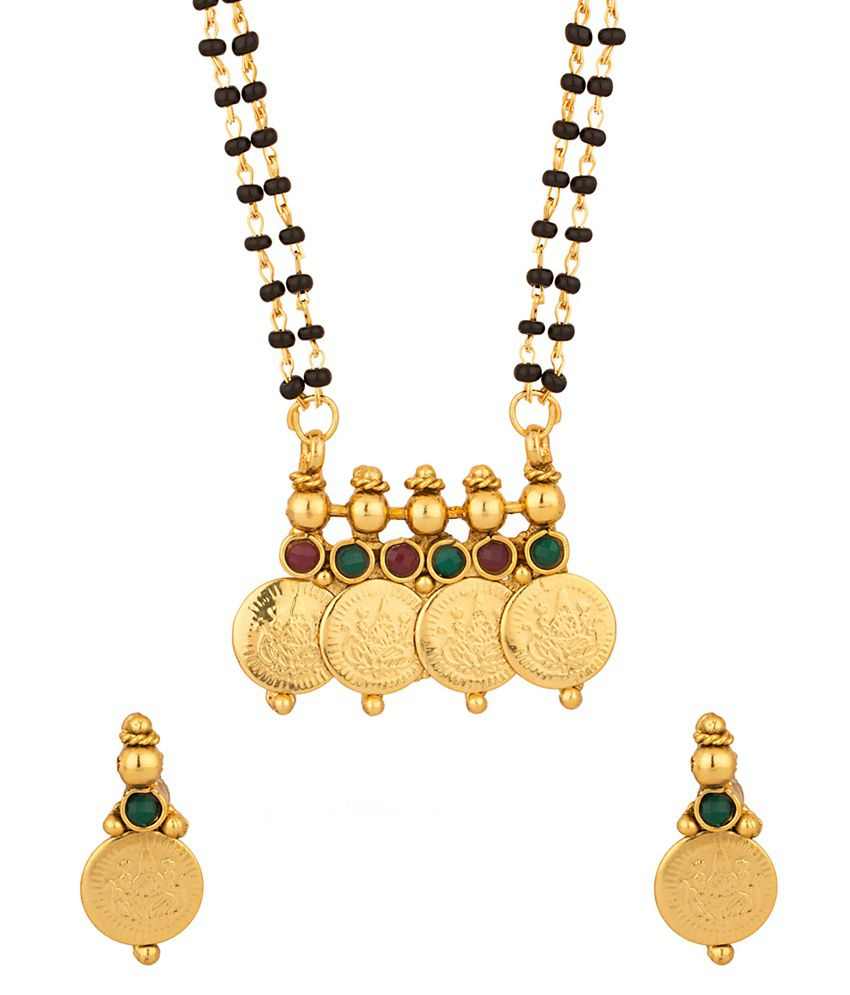 Voylla Pleasing Double Chain Coin Collection Mangalsutra Set With Colored Stones