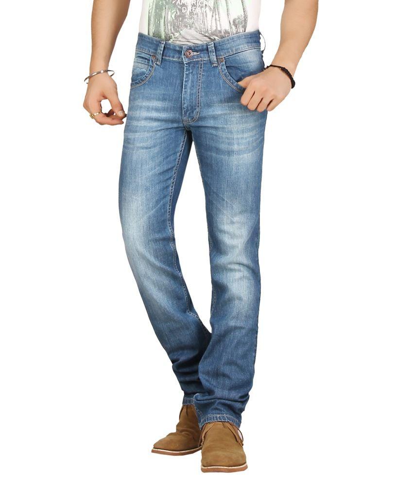 Warewell Light Blue Regular Fit Mid Rise Denim Jean For Men