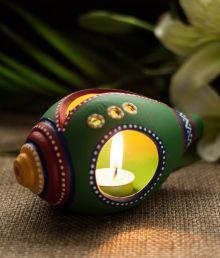 Exclusivelane Green Terracotta Shankh Shaped Tea Light Holder