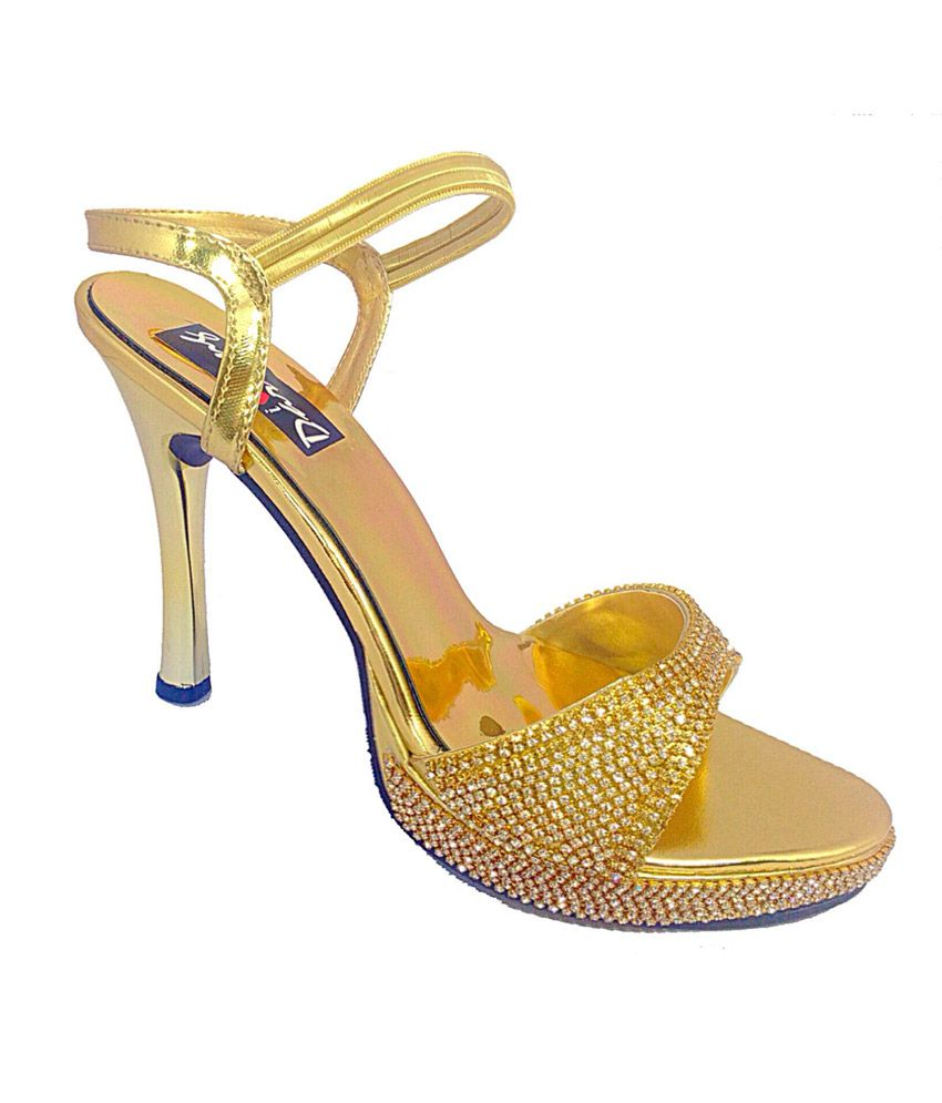 1b1145eb0960 Darling Deals Golden Stiletto Party Wear High Heel Sandal Price in India-  Buy Darling Deals Golden Stiletto Party Wear High Heel Sandal Online at  Snapdeal