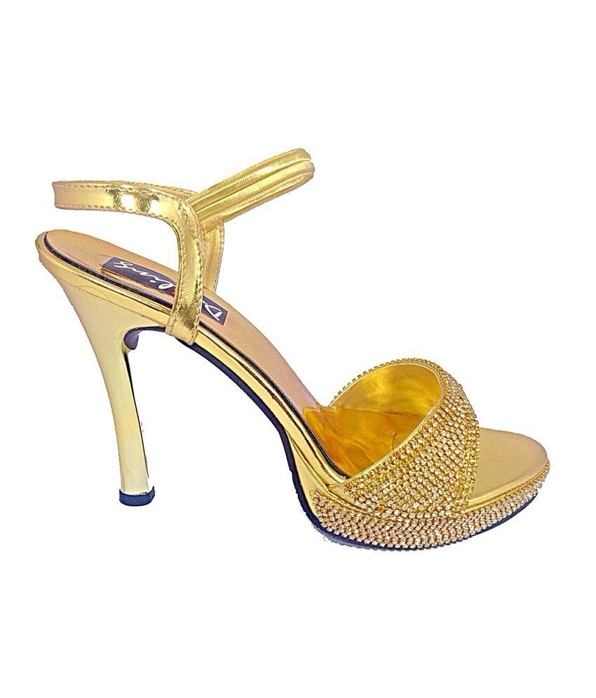 99c710492db8 Darling Deals Golden Stiletto Party Wear High Heel Sandal Price in ...
