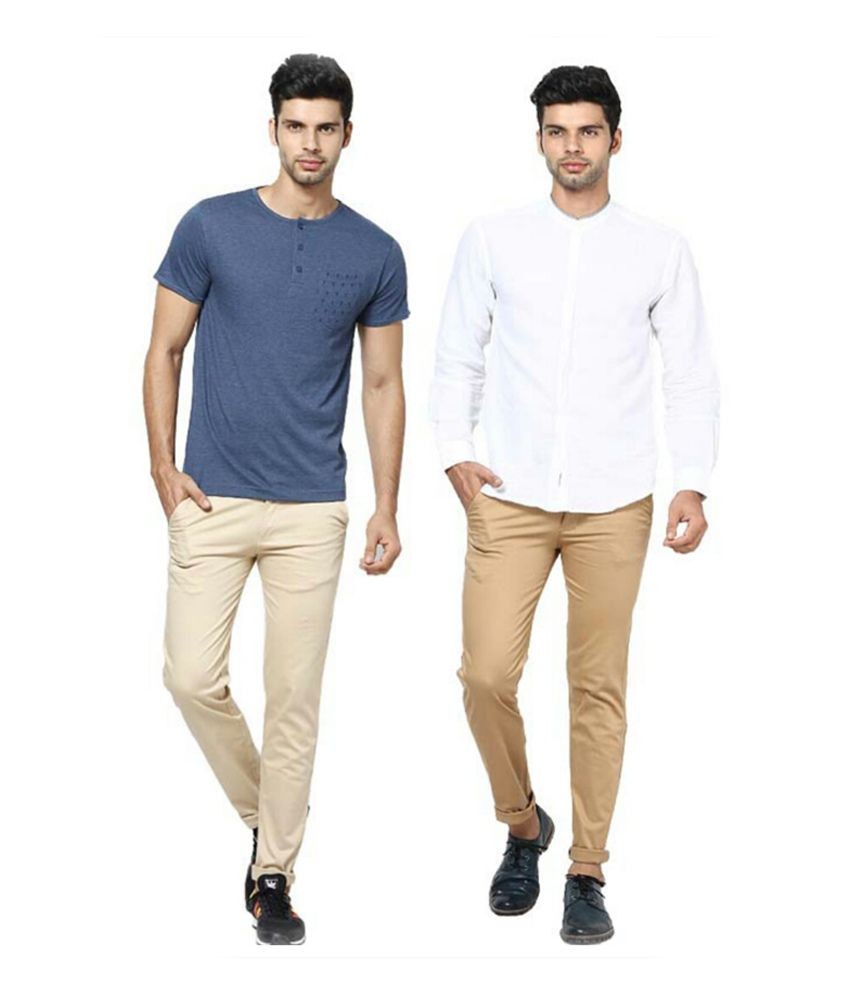 Inspire Clothing Inspiration Pack Of 2 Slim Casual Chinos (Beige & Khaki)