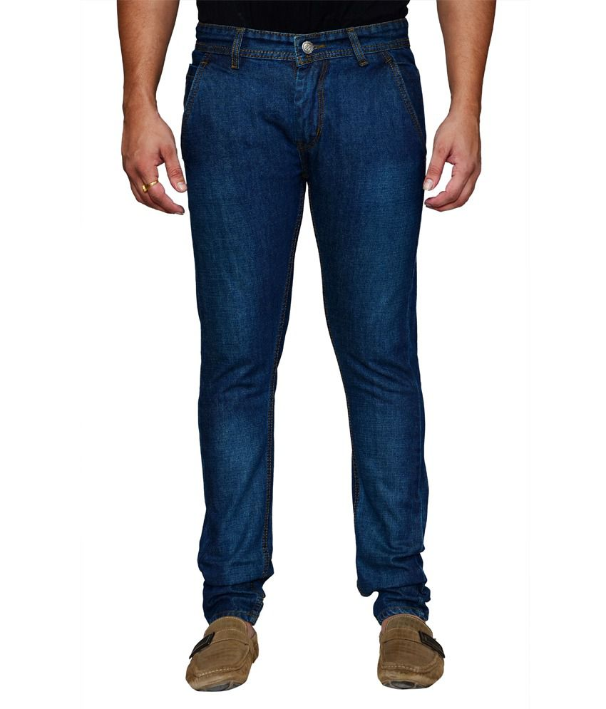 Shade-x Blue Cotton Regular Strechable Jeans