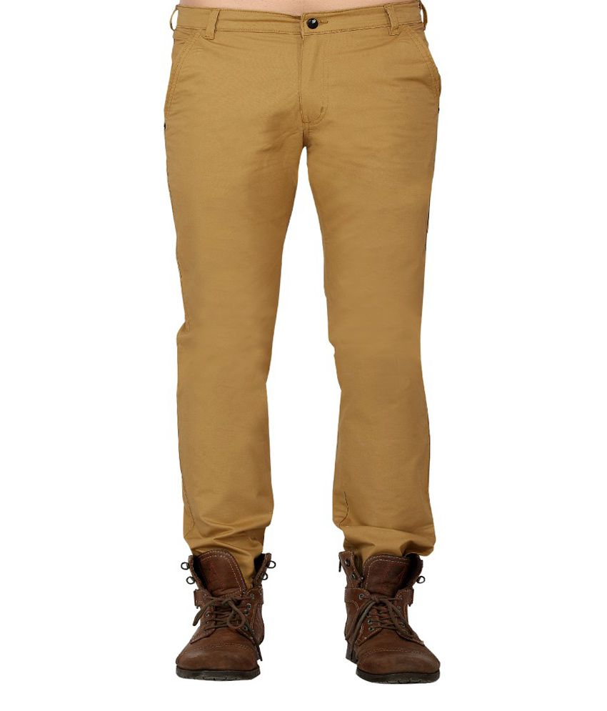 Ubho Core Khaki Cotton Solid Twill Trouser