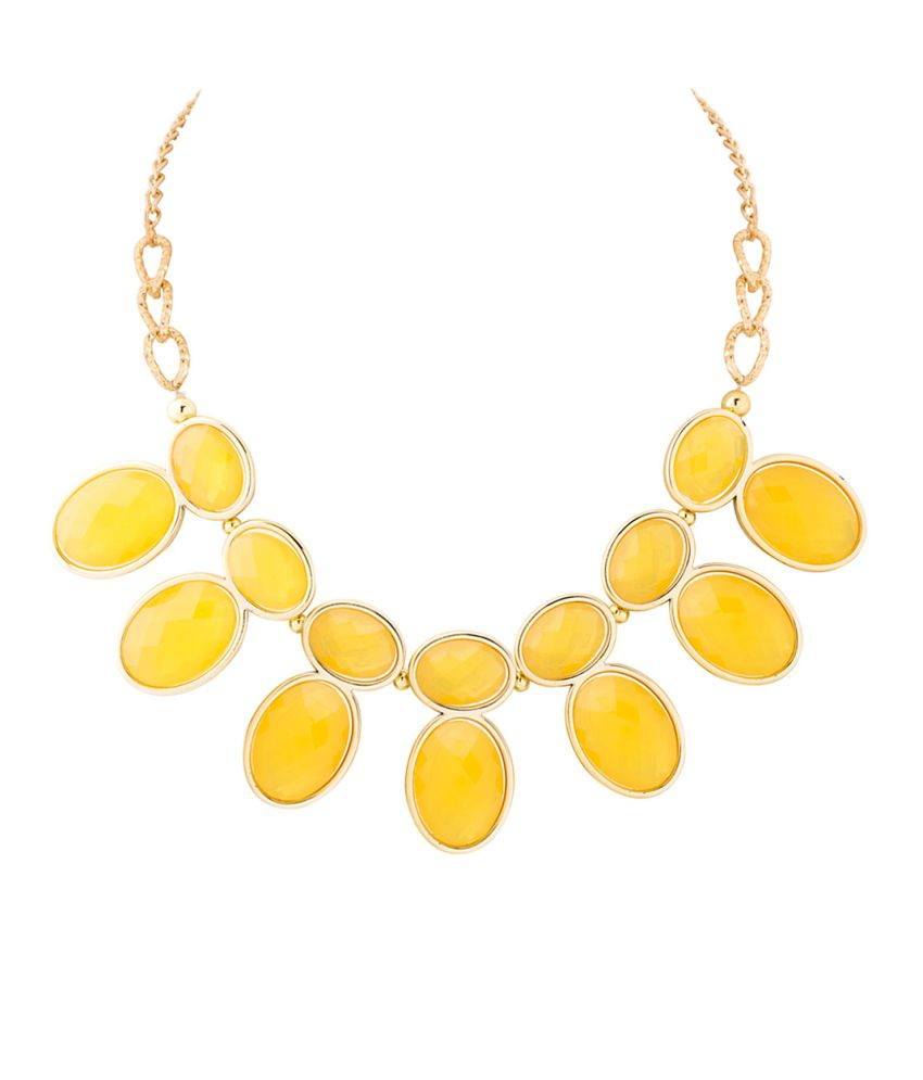 Voylla Magnificent Piece Of Necklace With Yellow Stones