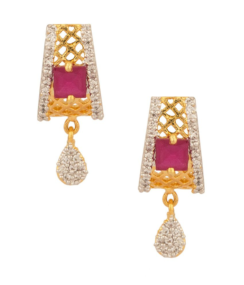 Voylla Precious Yellow Gold Plated Pair Of Stud Earrings With Cz And Pink Color Stones