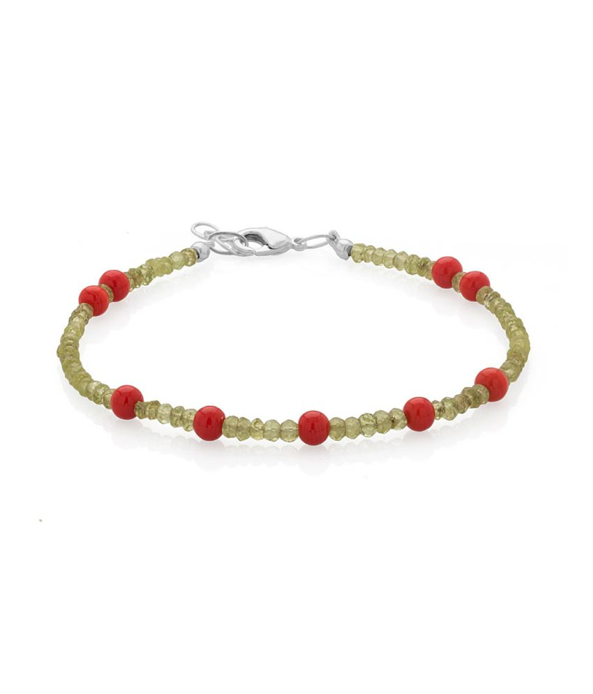 Voylla Single Anklet With Peridot And Coral Beads