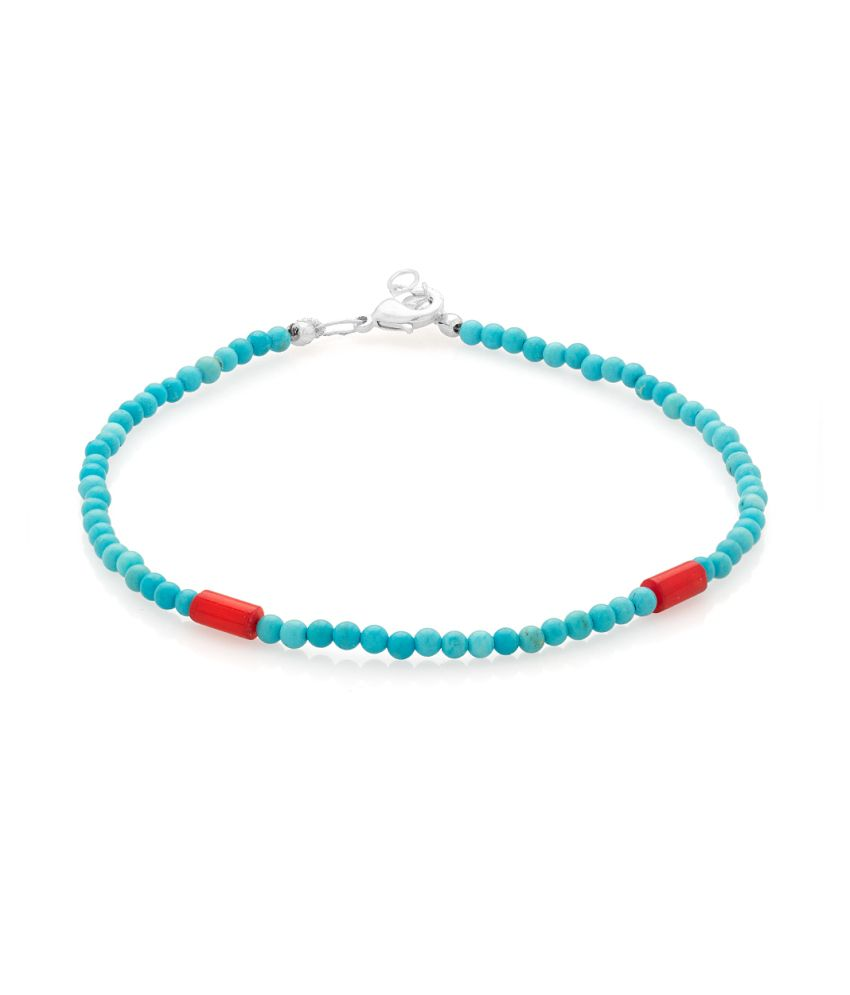Voylla Single Beaded Anklet With Turquoise And Coral Beads