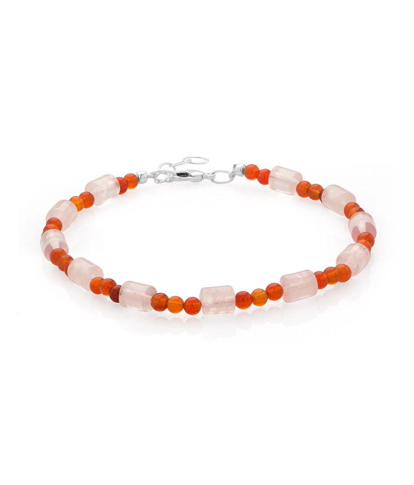 Voylla Single Beaded Anklet With White And Orange
