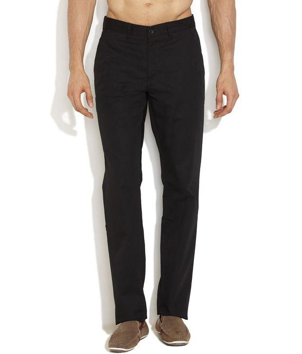John Miller Black Smart Flat Front Trousers