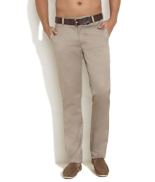 Scullers Brown Easy Care Open-Hem Chinos