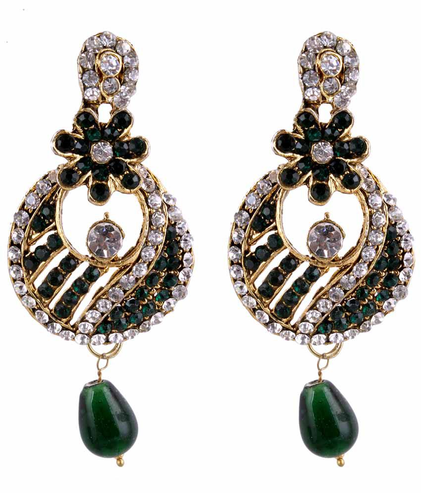 Sp Jewellery Style Diva Green Jhumkis