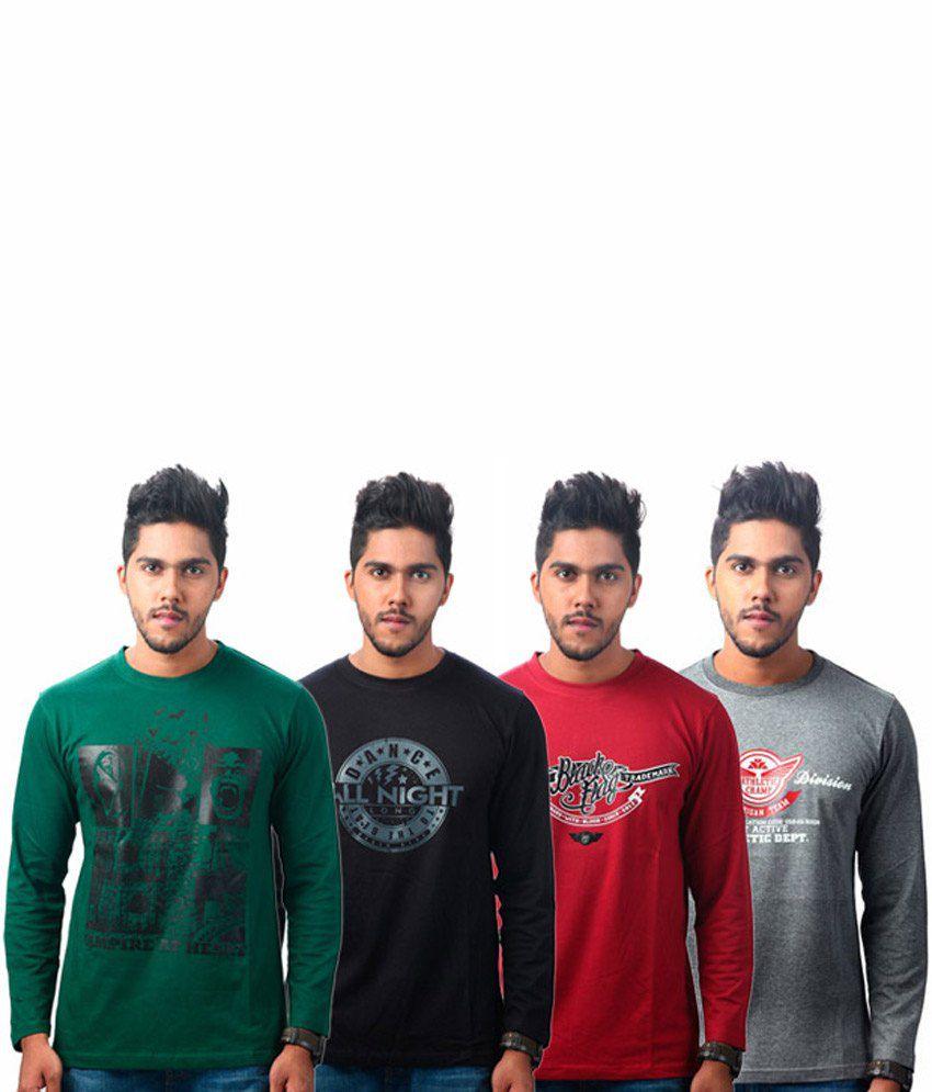 Tekki Maroon-darkgrey-green-black Pack Of 4 T Shirts