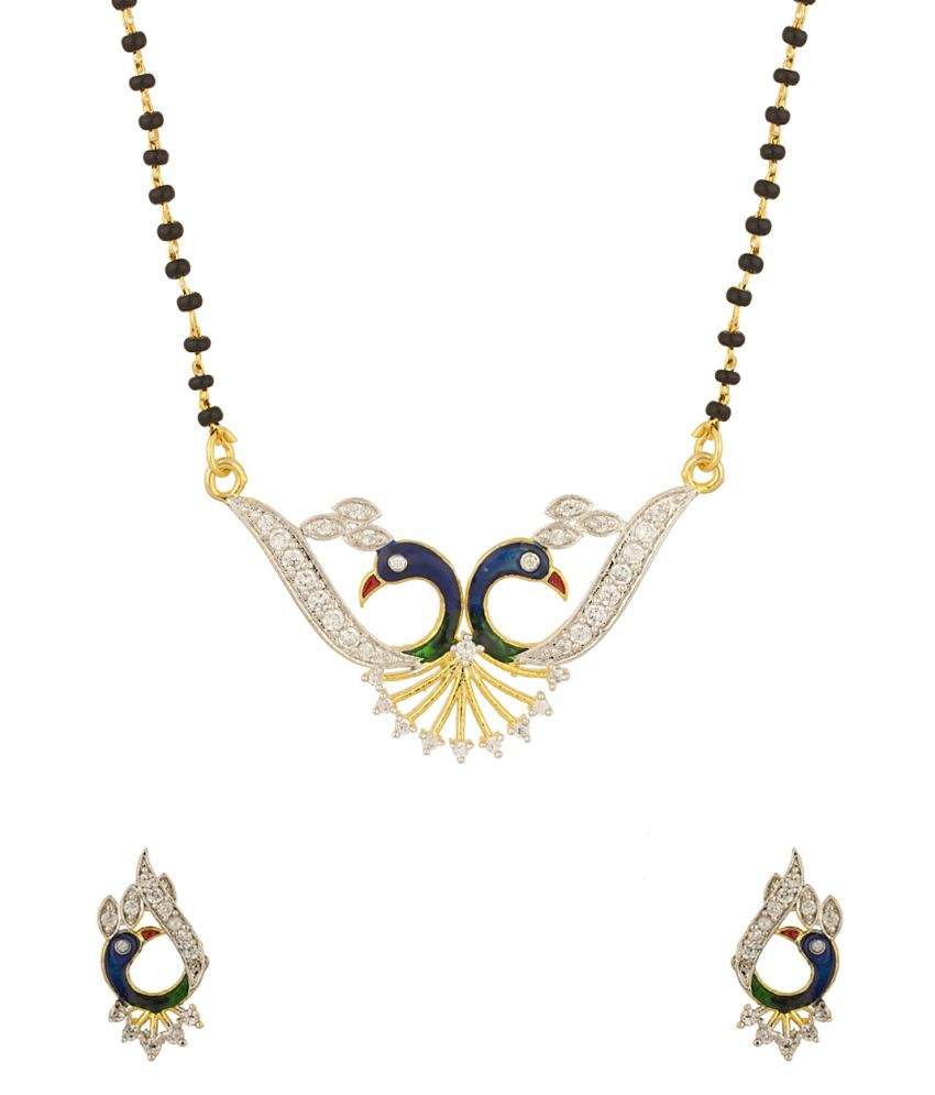 Voylla Dainty Single Chain Mangalsutra Set Featuring Peacock