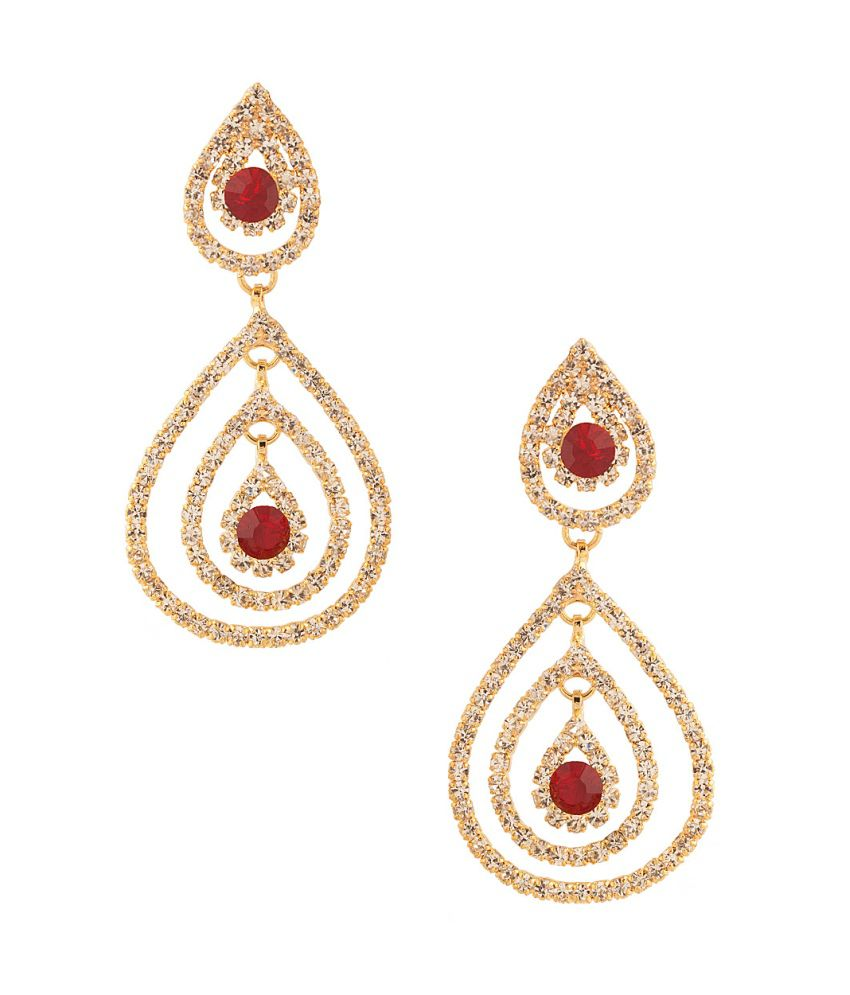 Voylla Dangler Earrings With Magnificent Red Color Stones ...