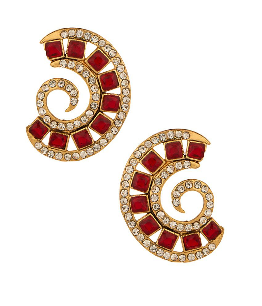 Voylla Luscious Pair Of Stud Earrings With Cz And Maroon Stones