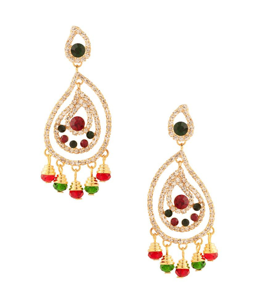 Voylla Magnetic Pair Of Dangler Earrings With Colored Stones