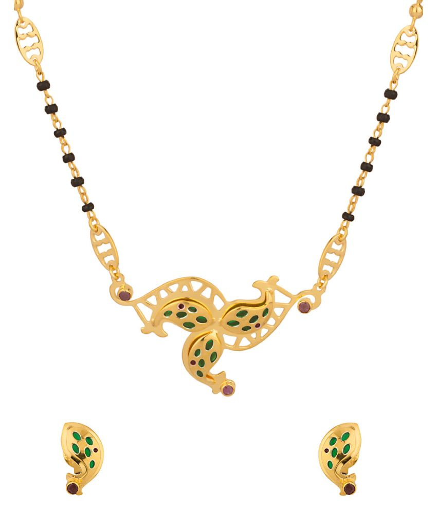 Voylla : Milaan Lustrous Mangalsutra Set With Ruby And Green Enamel Work