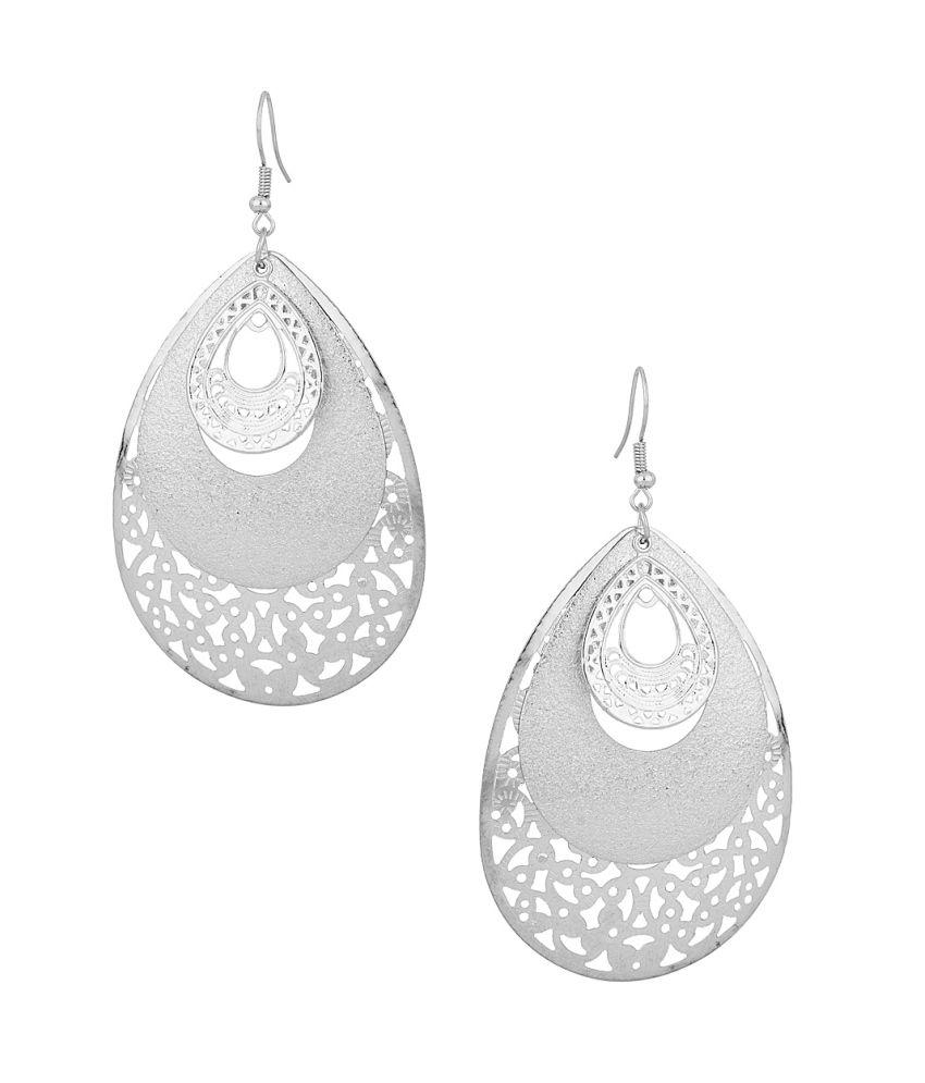 Voylla Shimmering Silver Color Dangler Earrings On Alloy